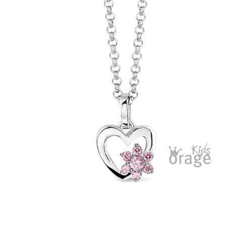 Hanger - hart met roze bloem