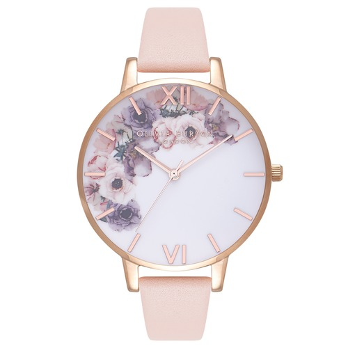 Watercolour Florals Nude Peach & Rose Gold Watch